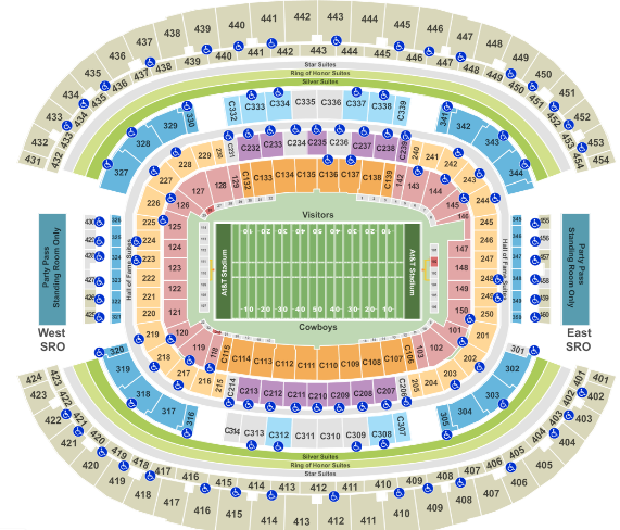 At T Stadium Seat Map