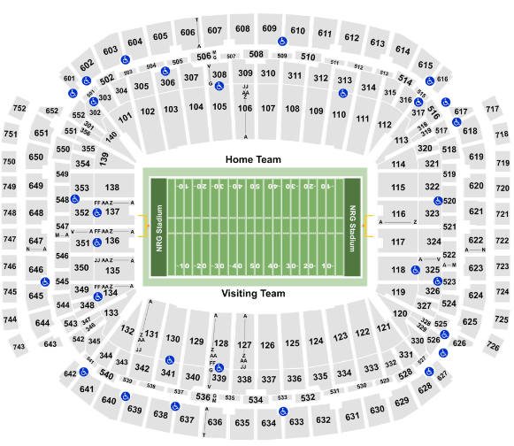 NRG Stadium Seat Map Houston Texans Football