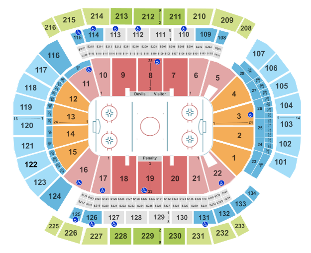 Prudential Center Seat Map NHL