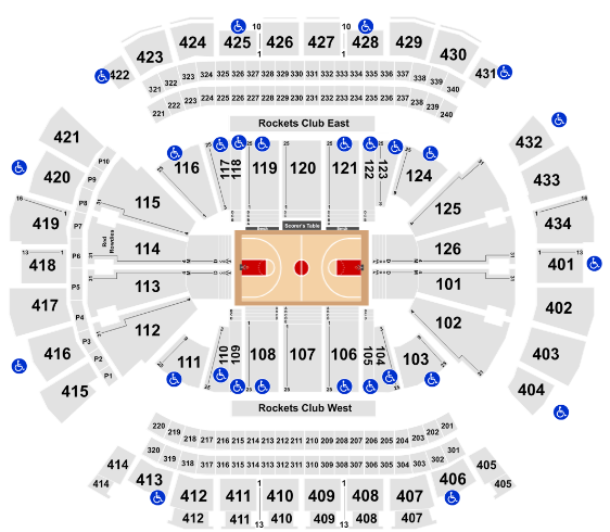 Toyota Center Seat Map Rockets Basketball