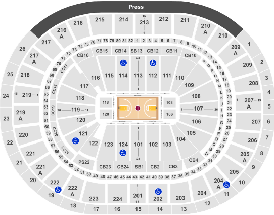 Wells Fargo Center Seat Map 76ers Basketball