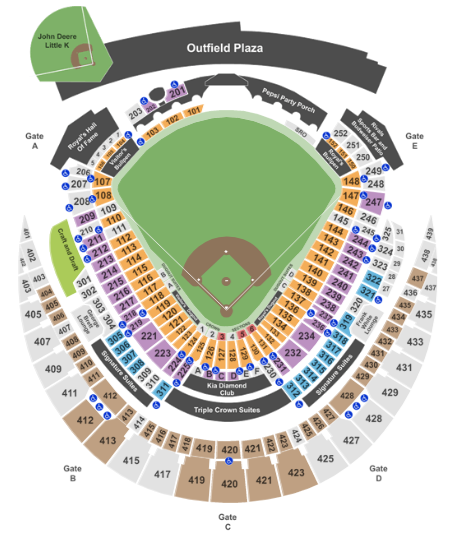 Kauffman Stadium Seat Map Baseball