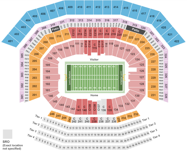 Levi's Stadium Seat Map Football