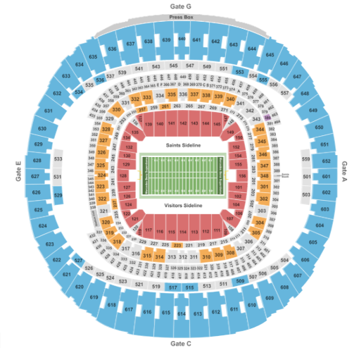 Mercedes-Benz Superdome Seat Map Football