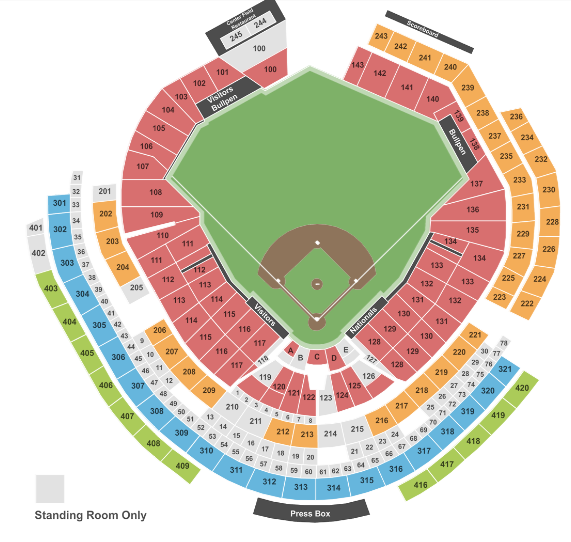 Nationals Seat Map Baseball