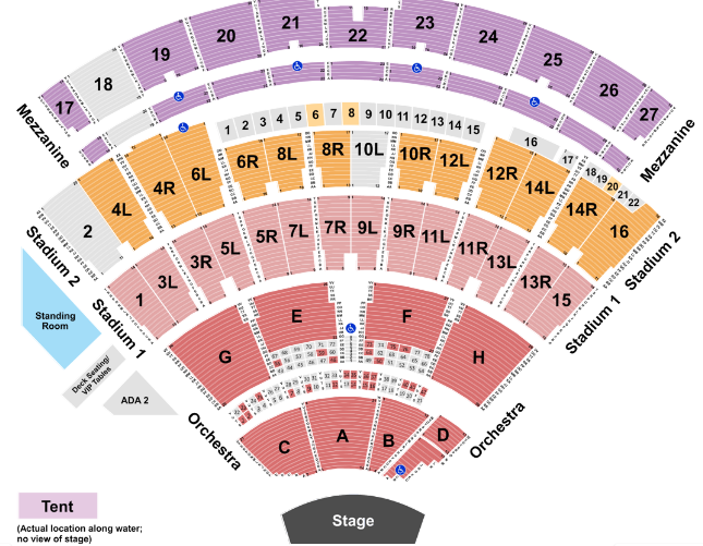 Northwell Health at Jones Beach Theater Seat Map