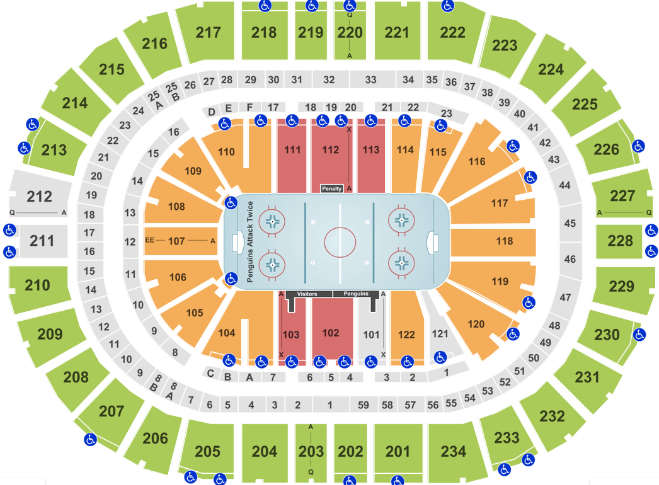Ppg Paints Arena Seat Map Hockey