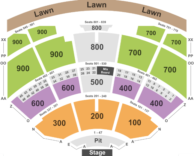 Riverbend Music Center Seat Map