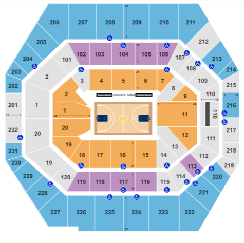 Bankers Life Fieldhouse Seat Map Basketball