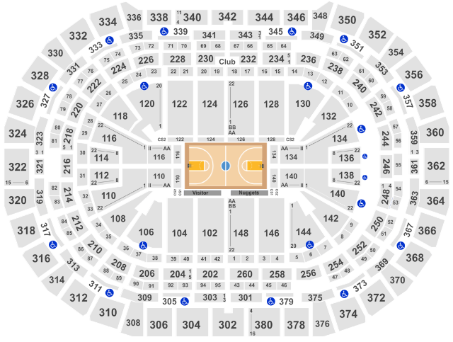 Pepsi Center Seat Map Denver Nuggets Basketball