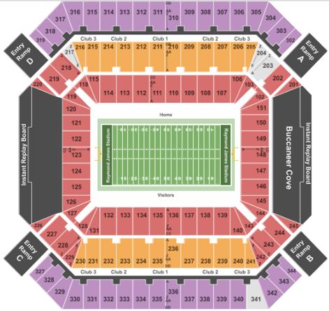 Raymond James Stadium Seat Map And Venue Information