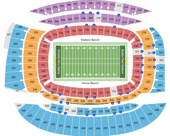 Soldier Field Seat Map Football