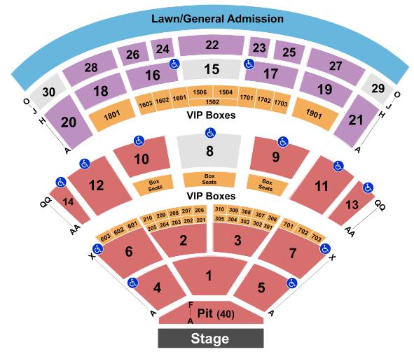 Saratoga Performing Arts Center Seat Map