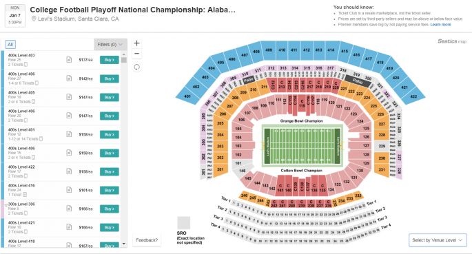 cfp ticket prices at ticket club