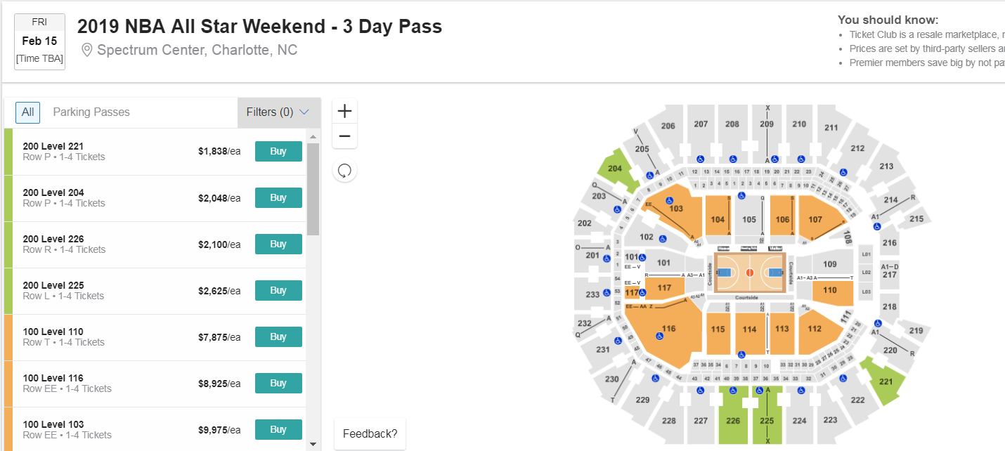 nba all star weekend ticket prices